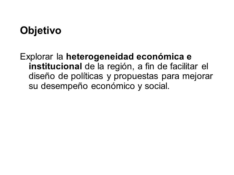 Objetivo Explorar la heterogeneidad económica e institucional de la región, a fin de facilitar el diseño de políticas y propuestas para mejorar su desempeño económico y social.