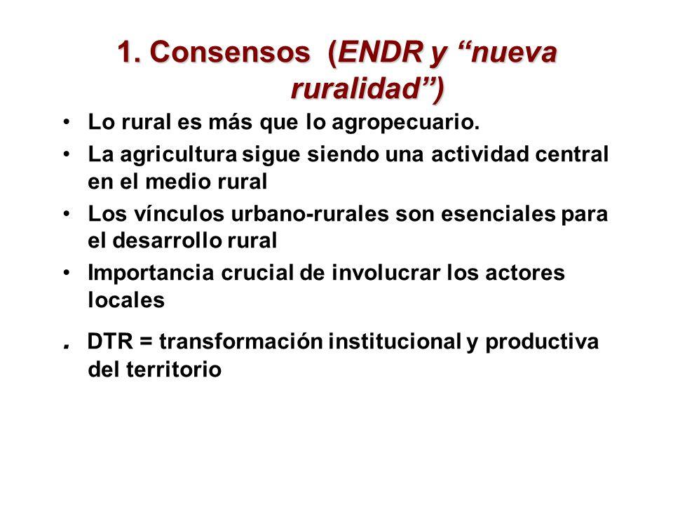 1. Consensos (ENDR y nueva ruralidad) Lo rural es más que lo agropecuario. La agricultura sigue siendo una actividad central en el medio rural Los vín