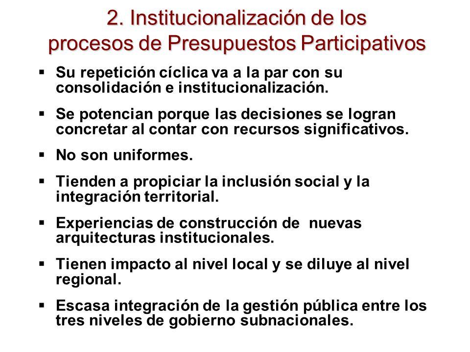 2. Institucionalización de los procesos de Presupuestos Participativos Su repetición cíclica va a la par con su consolidación e institucionalización.