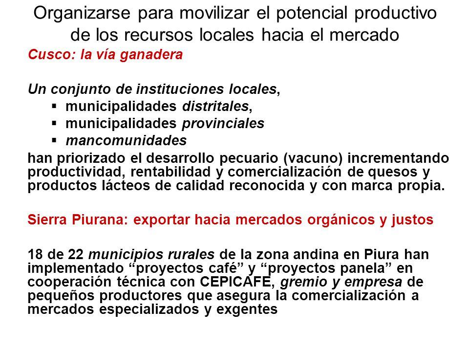 Organizarse para movilizar el potencial productivo de los recursos locales hacia el mercado Cusco: la vía ganadera Un conjunto de instituciones locale
