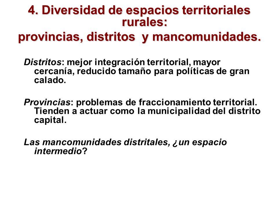 4. Diversidad de espacios territoriales rurales: provincias, distritos y mancomunidades. Distritos: mejor integración territorial, mayor cercanía, red