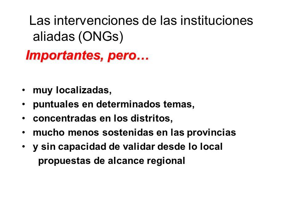 Las intervenciones de las instituciones aliadas (ONGs) Importantes, pero… muy localizadas, puntuales en determinados temas, concentradas en los distritos, mucho menos sostenidas en las provincias y sin capacidad de validar desde lo local propuestas de alcance regional