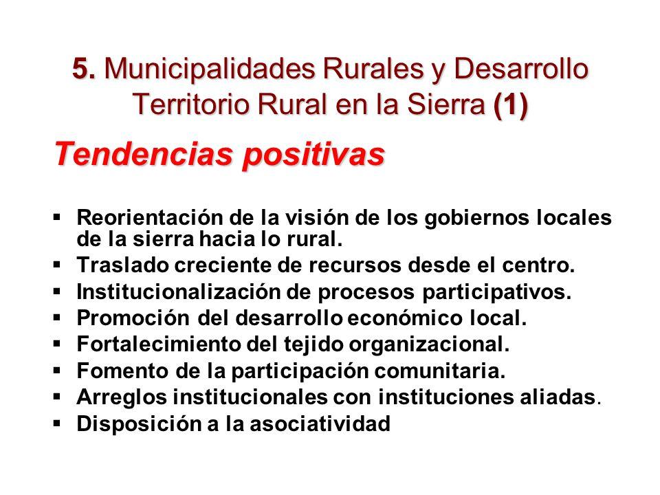 5. Municipalidades Rurales y Desarrollo Territorio Rural en la Sierra (1) Tendencias positivas Reorientación de la visión de los gobiernos locales de