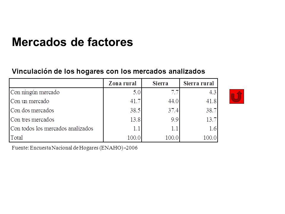 Mercados de factores Vinculación de los hogares con los mercados analizados Fuente: Encuesta Nacional de Hogares (ENAHO) -2006