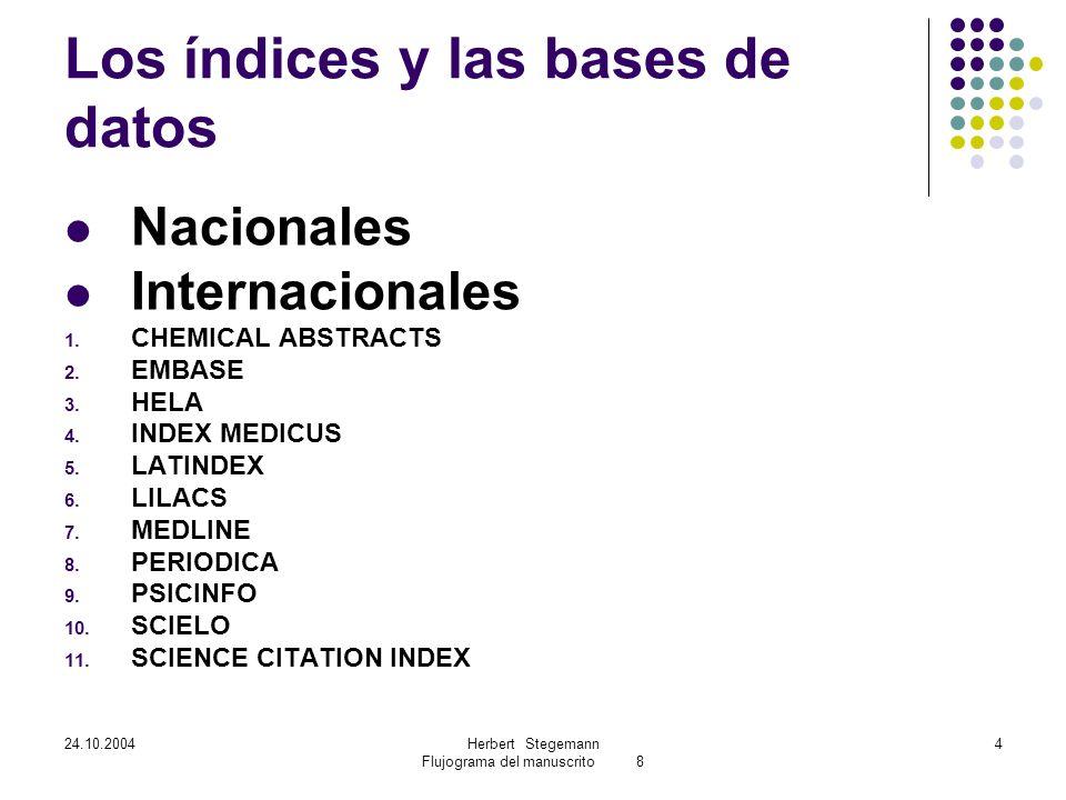 24.10.2004Herbert Stegemann Flujograma del manuscrito 8 4 Los índices y las bases de datos Nacionales Internacionales 1.