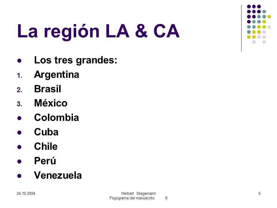 24.10.2004Herbert Stegemann Flujograma del manuscrito 8 6 La región LA & CA Los tres grandes: 1.