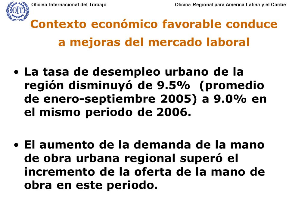 Oficina Regional para América Latina y el CaribeOficina Internacional del Trabajo Contexto económico favorable conduce a mejoras del mercado laboral La tasa de desempleo urbano de la región disminuyó de 9.5% (promedio de enero-septiembre 2005) a 9.0% en el mismo periodo de 2006.