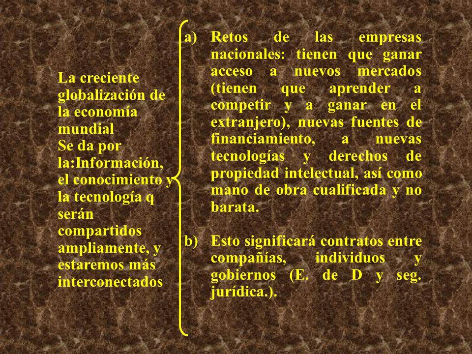 c)Hoy una empresa es un sistema social de la cual la creación de riqueza y empleo capaz de adaptarse permanentemente a su entorno.