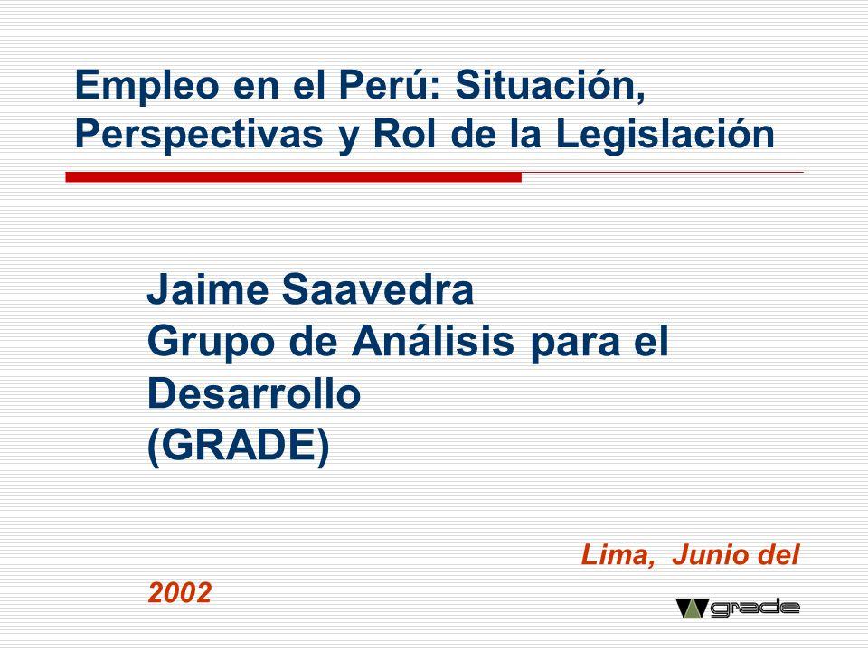 Empleo en el Perú: Situación, Perspectivas y Rol de la Legislación Jaime Saavedra Grupo de Análisis para el Desarrollo (GRADE) Lima, Junio del 2002