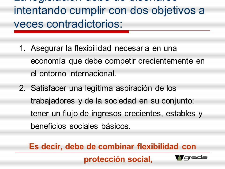 La legislación debe de diseñarse intentando cumplir con dos objetivos a veces contradictorios: 1.Asegurar la flexibilidad necesaria en una economía qu