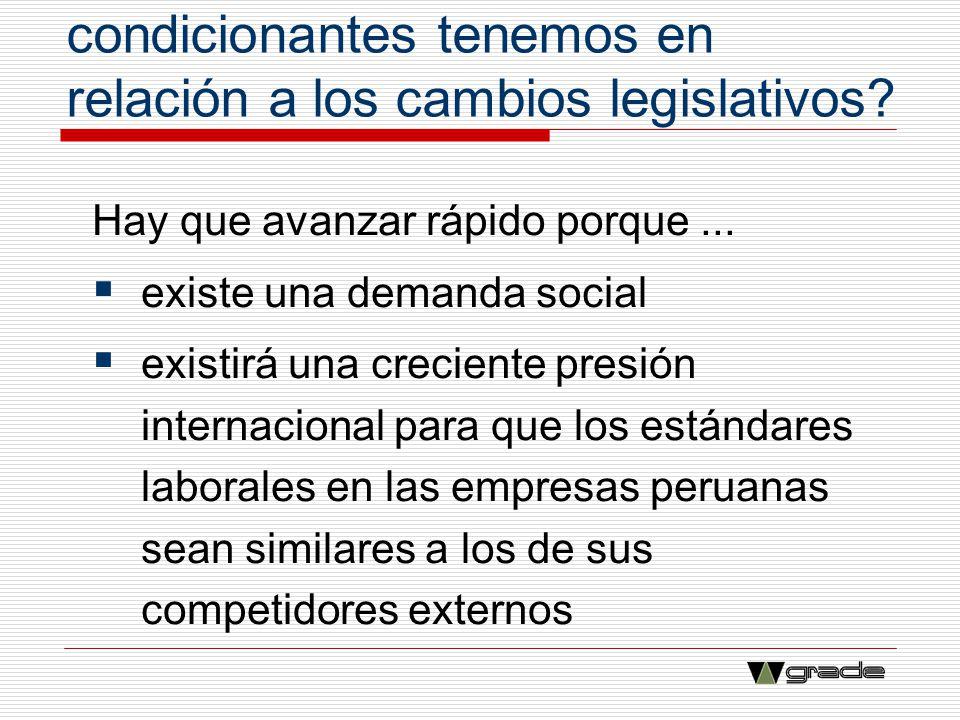 ¿Qué restricciones y condicionantes tenemos en relación a los cambios legislativos? Hay que avanzar rápido porque... existe una demanda social existir