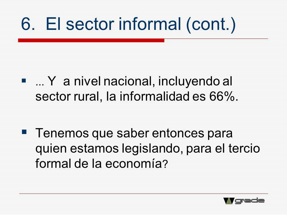 6. El sector informal (cont.)... Y a nivel nacional, incluyendo al sector rural, la informalidad es 66%. Tenemos que saber entonces para quien estamos