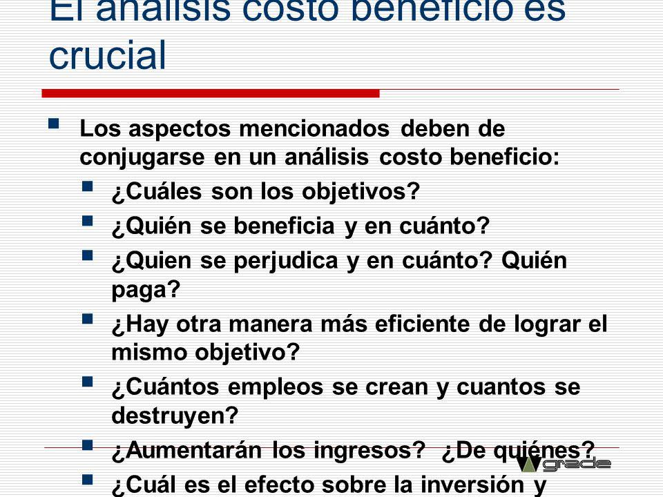 El análisis costo beneficio es crucial Los aspectos mencionados deben de conjugarse en un análisis costo beneficio: ¿Cuáles son los objetivos? ¿Quién