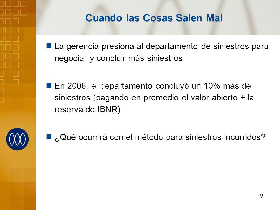 9 Cuando las Cosas Salen Mal La gerencia presiona al departamento de siniestros para negociar y concluir más siniestros En 2006, el departamento concl