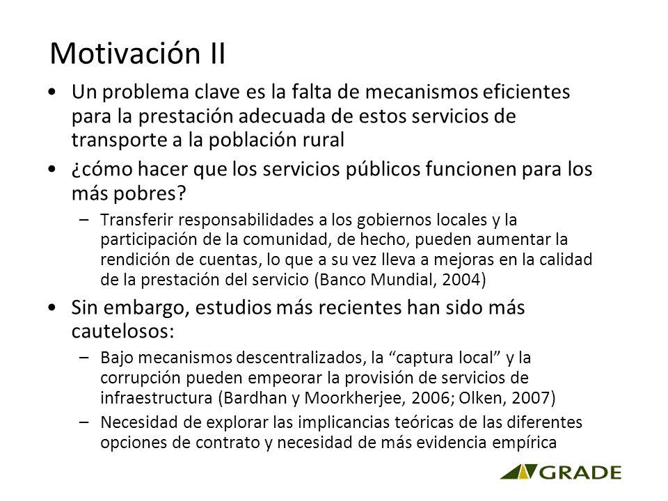 Motivación II Un problema clave es la falta de mecanismos eficientes para la prestación adecuada de estos servicios de transporte a la población rural ¿cómo hacer que los servicios públicos funcionen para los más pobres.