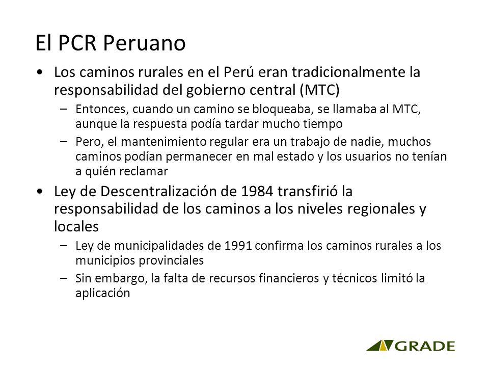 El PCR Peruano Los caminos rurales en el Perú eran tradicionalmente la responsabilidad del gobierno central (MTC) –Entonces, cuando un camino se bloqueaba, se llamaba al MTC, aunque la respuesta podía tardar mucho tiempo –Pero, el mantenimiento regular era un trabajo de nadie, muchos caminos podían permanecer en mal estado y los usuarios no tenían a quién reclamar Ley de Descentralización de 1984 transfirió la responsabilidad de los caminos a los niveles regionales y locales –Ley de municipalidades de 1991 confirma los caminos rurales a los municipios provinciales –Sin embargo, la falta de recursos financieros y técnicos limitó la aplicación