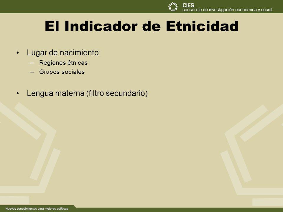 El Indicador de Etnicidad Lugar de nacimiento: –Regiones étnicas –Grupos sociales Lengua materna (filtro secundario)