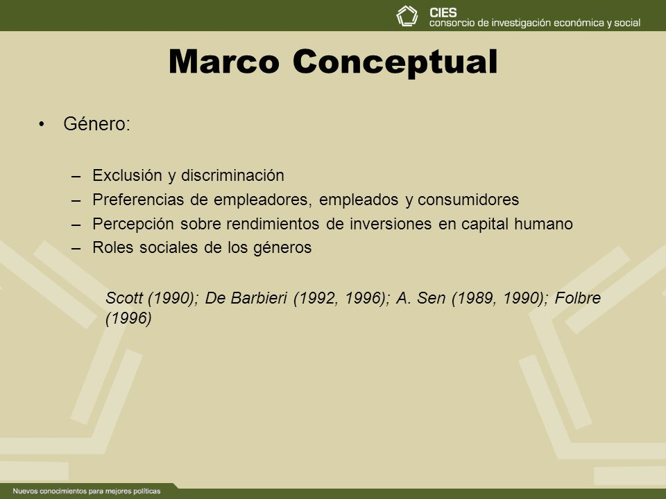 Marco Conceptual Género: –Exclusión y discriminación –Preferencias de empleadores, empleados y consumidores –Percepción sobre rendimientos de inversiones en capital humano –Roles sociales de los géneros Scott (1990); De Barbieri (1992, 1996); A.