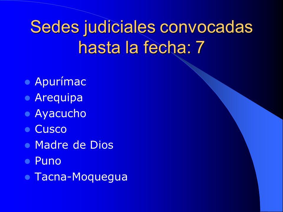 Sedes judiciales convocadas hasta la fecha: 7 Apurímac Arequipa Ayacucho Cusco Madre de Dios Puno Tacna-Moquegua