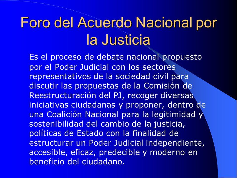 Foro del Acuerdo Nacional por la Justicia Es el proceso de debate nacional propuesto por el Poder Judicial con los sectores representativos de la soci