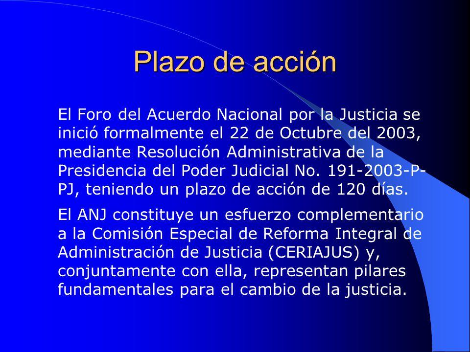 Plazo de acción El Foro del Acuerdo Nacional por la Justicia se inició formalmente el 22 de Octubre del 2003, mediante Resolución Administrativa de la