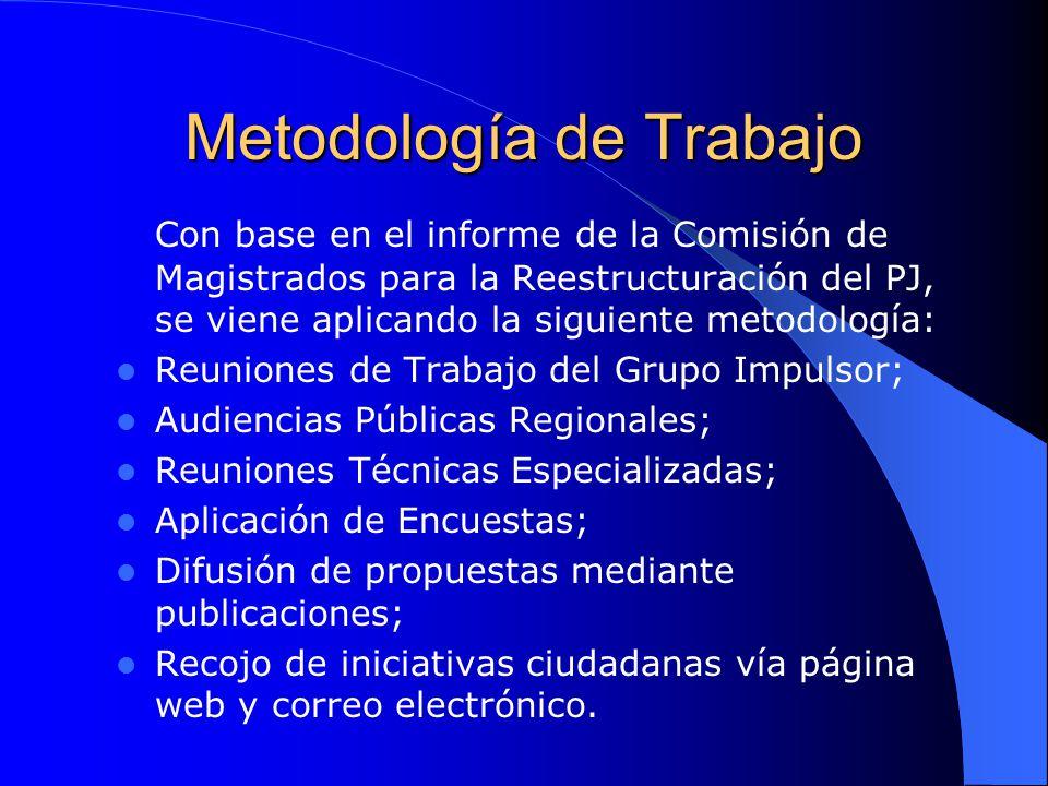 Metodología de Trabajo Con base en el informe de la Comisión de Magistrados para la Reestructuración del PJ, se viene aplicando la siguiente metodolog