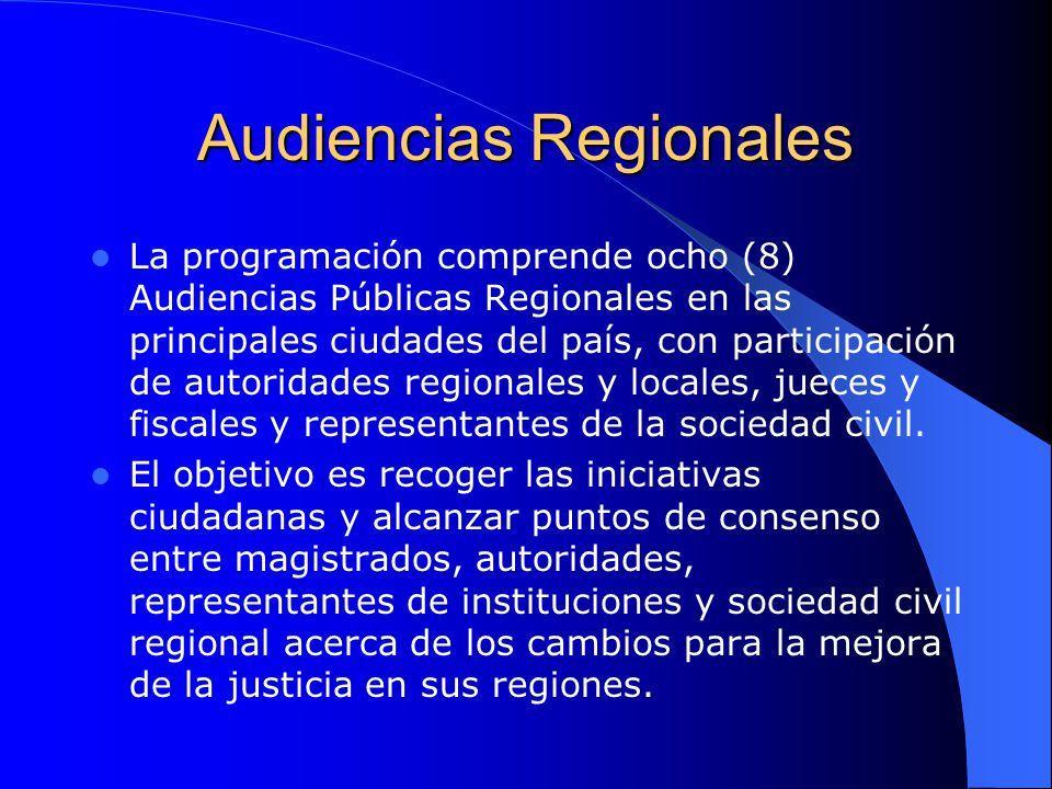 Audiencias Regionales La programación comprende ocho (8) Audiencias Públicas Regionales en las principales ciudades del país, con participación de aut