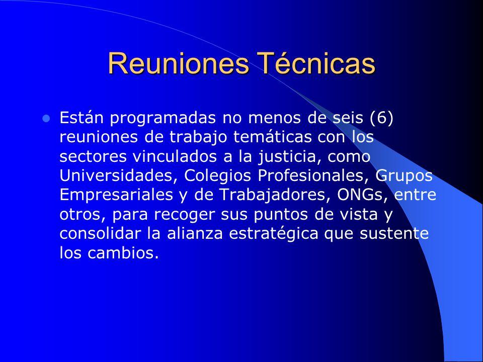 Reuniones Técnicas Están programadas no menos de seis (6) reuniones de trabajo temáticas con los sectores vinculados a la justicia, como Universidades