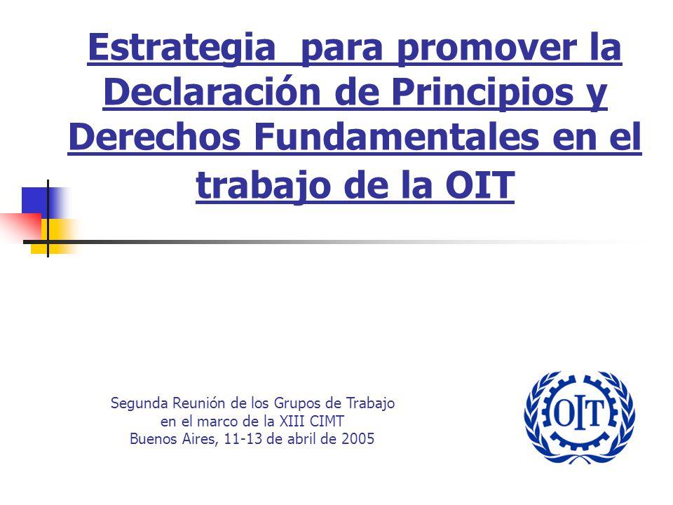 Estrategia para promover la Declaración de Principios y Derechos Fundamentales en el trabajo de la OIT Segunda Reunión de los Grupos de Trabajo en el marco de la XIII CIMT Buenos Aires, 11-13 de abril de 2005