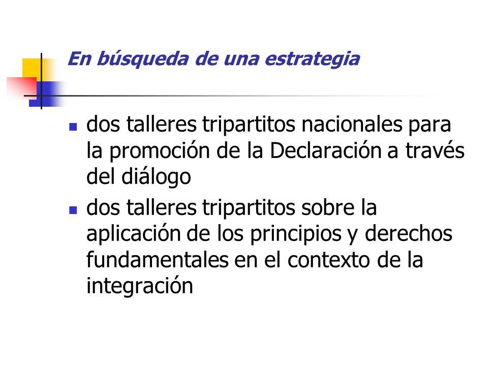 En búsqueda de una estrategia dos talleres tripartitos nacionales para la promoción de la Declaración a través del diálogo dos talleres tripartitos sobre la aplicación de los principios y derechos fundamentales en el contexto de la integración