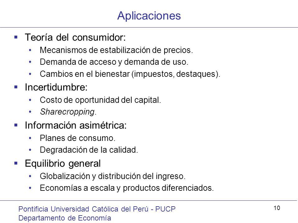 Aplicaciones Pontificia Universidad Católica del Perú - PUCP Departamento de Economía 10 Teoría del consumidor: Mecanismos de estabilización de precio
