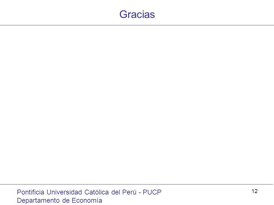 Gracias Pontificia Universidad Católica del Perú - PUCP Departamento de Economía 12