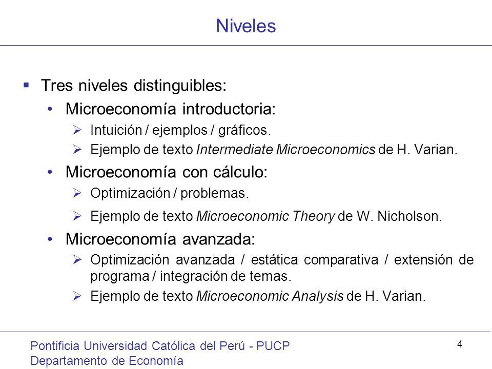 Niveles Pontificia Universidad Católica del Perú - PUCP Departamento de Economía 4 Tres niveles distinguibles: Microeconomía introductoria: Intuición