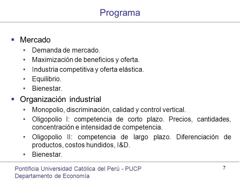 Programa Pontificia Universidad Católica del Perú - PUCP Departamento de Economía 7 Mercado Demanda de mercado. Maximización de beneficios y oferta. I