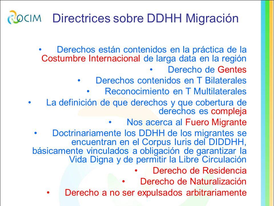 Directrices sobre DDHH Migración Derechos están contenidos en la práctica de la Costumbre Internacional de larga data en la región Derecho de Gentes Derechos contenidos en T Bilaterales Reconocimiento en T Multilaterales La definición de que derechos y que cobertura de derechos es compleja Nos acerca al Fuero Migrante Doctrinariamente los DDHH de los migrantes se encuentran en el Corpus Iuris del DIDDHH, básicamente vinculados a obligación de garantizar la Vida Digna y de permitir la Libre Circulación Derecho de Residencia Derecho de Naturalización Derecho a no ser expulsados arbitrariamente