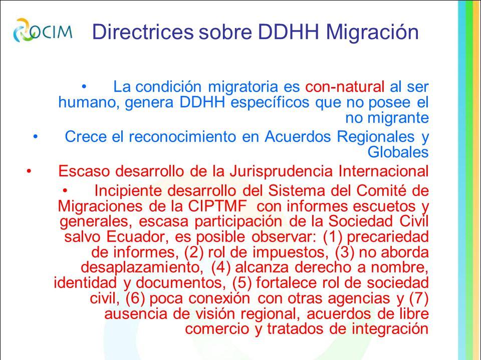 La condición migratoria es con-natural al ser humano, genera DDHH específicos que no posee el no migrante Crece el reconocimiento en Acuerdos Regionales y Globales Escaso desarrollo de la Jurisprudencia Internacional Incipiente desarrollo del Sistema del Comité de Migraciones de la CIPTMF con informes escuetos y generales, escasa participación de la Sociedad Civil salvo Ecuador, es posible observar: (1) precariedad de informes, (2) rol de impuestos, (3) no aborda desaplazamiento, (4) alcanza derecho a nombre, identidad y documentos, (5) fortalece rol de sociedad civil, (6) poca conexión con otras agencias y (7) ausencia de visión regional, acuerdos de libre comercio y tratados de integración