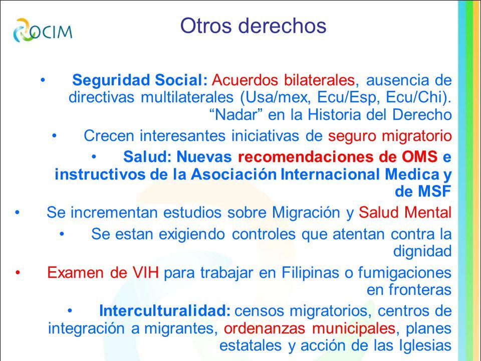 Otros derechos Seguridad Social: Acuerdos bilaterales, ausencia de directivas multilaterales (Usa/mex, Ecu/Esp, Ecu/Chi).