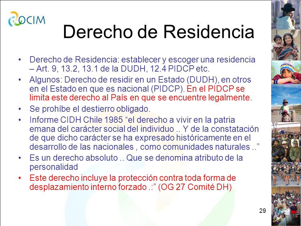 29 Derecho de Residencia Derecho de Residencia: establecer y escoger una residencia – Art.