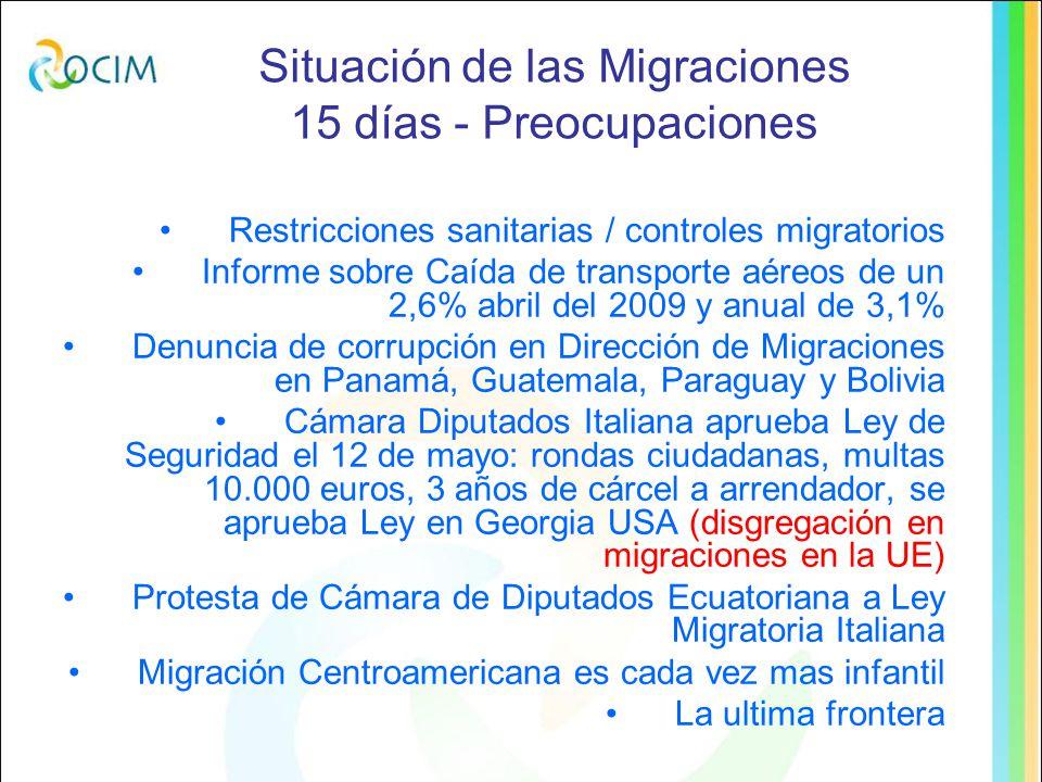 Situación de las Migraciones Últimos 15 días atrás - Preocupaciones Manifestaciones pro amnistía en España puentes no muros Permanentes denuncias de la Iglesias en México por desapariciones de migrantes Condena de estafas a migrantes en NY Cientos de migrantes muertos en costas de América Denuncia por discriminación de mujeres migrantes en su acceso a la justicia en USA Reporte de 78 migrantes centroamericanos detenidos en Chihuahua