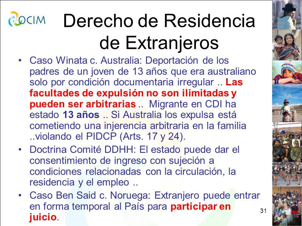 31 Derecho de Residencia de Extranjeros Caso Winata c.