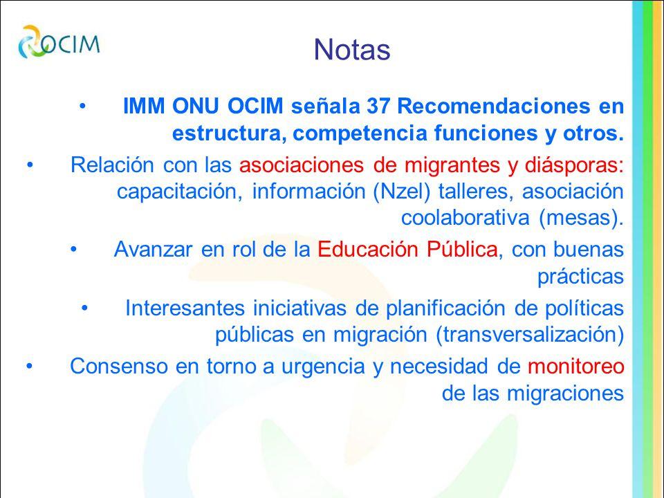 Notas IMM ONU OCIM señala 37 Recomendaciones en estructura, competencia funciones y otros.