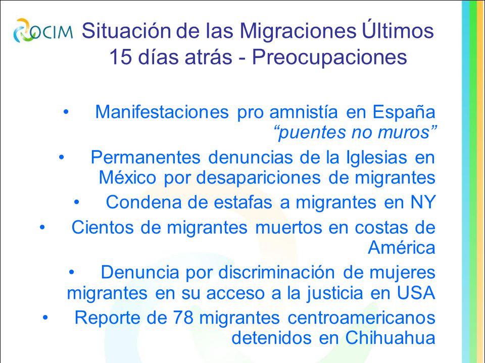 Situación de las Migraciones Últimos 15 días atrás Crece migración femenina a USA Informe señala que el 2033 en USA minorías logran mayoría de Crecimiento de migración población Georgia endurece controles obligatorios en seguridad social a migrantes a contar del 1 de enero del 2010 Procesan en México a empresa que estafa migrantes Denuncias en México de detenciones arbitrarias de migrantes por el virus de la gripe porcina Crecidas del Río Bravo expone a la muerte a mas migrantes Denuncias de abusos de policía contra migrantes en México Se incrementan migraciones de bolivianos y paraguayos a Argentina (solicitudes de radicación) Denuncias de Trata en Sur de Argentina turismo falso Disminución de remesas desde USA a A Latina, promedio de 7% Denuncia de exceso de comisiones de remesas en México de 3 a 15%
