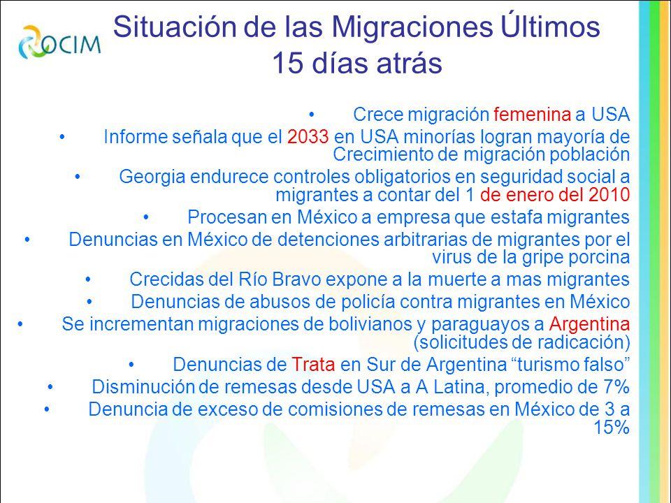 Situación de las Migraciones Últimos 15 días atrás Promedio (BID): Caída en A Latina de remesas el 2009 en un 7%: Desaceleración en Nicaragua por disminución en remesas a partir de mayo, en Colombia caen un 8,6%, en Paraguay 6%, México 10%, El Salvador 11%, R Dcana 5%, Ecuador 19-27% ultimo trimestre Proyectos de regulación en Parlamentos Estaduales en Argentina Iniciativa contra la trata en Holanda Asamblea General de ONU pide mas acción contra la trata y trafico, solicita regulación global, protocolo palermo insuficiente Explotación Sexual constituye el 79% del trafico humano Estimaciones de trafico van de 600 mil a cuatro millones de personas al año Se necesita Plan Global de Trata y Trafico El Protocolo es insuficiente Rescatan en México niños salvadoreños de redes de trafico Denuncias de tráfico en la Provincia de Entre Ríos Argentina Denuncia de Trafico a Haitianos en España