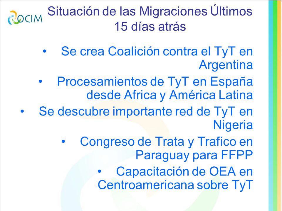 Situación de las Migraciones Últimos 15 días atrás Se crea Coalición contra el TyT en Argentina Procesamientos de TyT en España desde Africa y América Latina Se descubre importante red de TyT en Nigeria Congreso de Trata y Trafico en Paraguay para FFPP Capacitación de OEA en Centroamericana sobre TyT