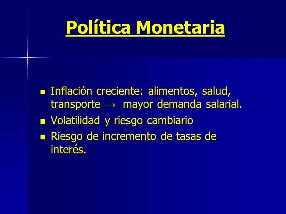 Política Monetaria Inflación creciente: alimentos, salud, transporte mayor demanda salarial.