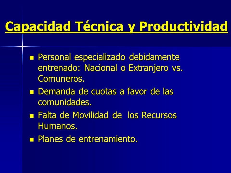 Capacidad Técnica y Productividad Personal especializado debidamente entrenado: Nacional o Extranjero vs.