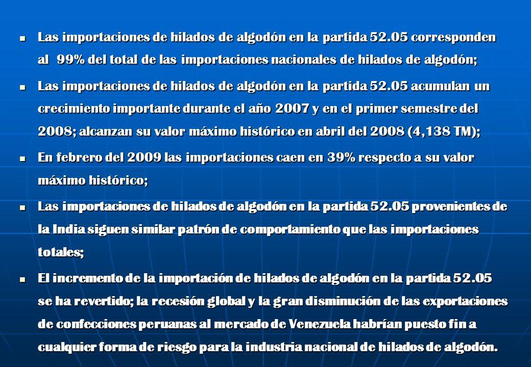 Las importaciones de hilados de algodón en la partida 52.05 corresponden al 99% del total de las importaciones nacionales de hilados de algodón; Las i