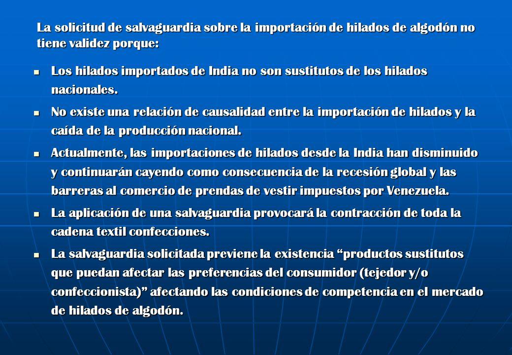 La solicitud de salvaguardia sobre la importación de hilados de algodón no tiene validez porque: Los hilados importados de India no son sustitutos de