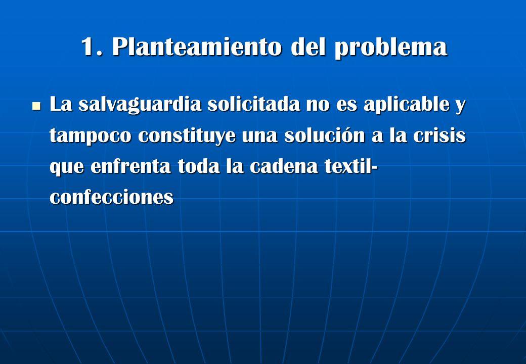 1. Planteamiento del problema La salvaguardia solicitada no es aplicable y tampoco constituye una solución a la crisis que enfrenta toda la cadena tex