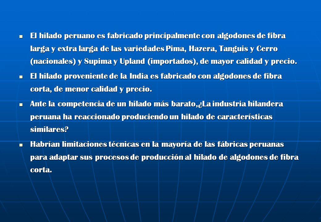 El hilado peruano es fabricado principalmente con algodones de fibra larga y extra larga de las variedades Pima, Hazera, Tanguis y Cerro (nacionales)